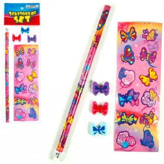 Butterfly Stationery Set containing butterfly design stickers, butterfly pencil and 3 butterfly erasers in poly bag.