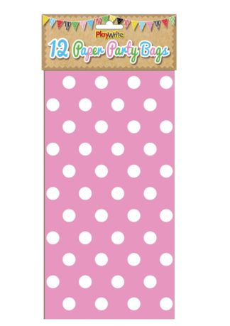 Pink Polka Dot Paper Party Bags (12pc)